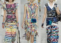 Chanel ss2014 Colour Swatch Paint Charts – Broken Patterns – Art School Influences – Spray Painted – Collaged Ensembles – Appliqué and Patchwork Fabric Areas – Ombre Colour – Deconstructed Details   Paris Fashion Week   Spring/Summer 2014   Print Highlights Part 3 catwalks