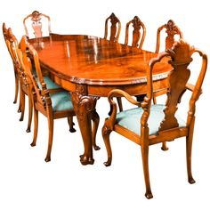 Early Century Edwardian Queen Anne Revival Dining Table and 8 Chairs Extendable Dining Table, Walnut Dining Chairs, Piano Stool, Walnut Burl, Walnut Furniture, Chair Height, Cabinet Makers, Dining Room Sets, Dining Room