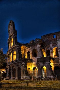 Roma - Colosseum At Night    My absolute favorite thing to do in Rome is to wander aimlessly through the city at night.  Every time you turn a corner you stumble upon some dramatically lit building, church, statue, or ancient ruin.  It's a city of magic, I tell ya!