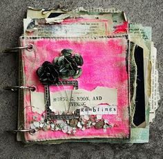 Art journal ~ canvas, scrap papers, paint, gesso, Maya Mist & odd bits of broken jewelry.