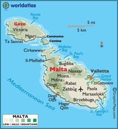 Map of Malta. Malta, an archipelago in the central Mediterranean between Sicily and the North African coast, is a nation known for historic sites related to a succession of rulers including the Romans, Moors, Knights of St. John, French and British. It has numerous fortresses, megalithic temples and the Ħal Saflieni Hypogeum, a subterranean complex of halls and burial chambers dating to 3600 B.C.E. (V)