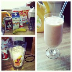 Breakfast smoothie!  1 cup of yogurt (your choice) 1 cup frozen fruit:pineapple, mango, strawberry, peach 1/2 fresh banana  1/4 cup oats (optional) Dash of OJ and Almond milk. Super filling and packed with vitamin c!