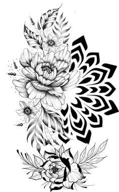 Leg Tattoos, Flower Tattoos, Sleeve Tattoos, Mandala Tattoo Sleeve, Tattoo Ideas, Tattoo Designs, Japanese Tattoo Art, Floral Tattoo Design, Tattoo Stencils