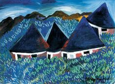 Gladys Mgudlandlu Huts, gouache on paper, x cm Gouache, Collage, Canvas, Paper, Painting, Artists, Image, Food, Art