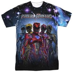 Authentic Power Rangers Power Surge T Shirt has the 90's vintage styling for an all over cosmic design. Official Power Rangers movie t-shirts new for 2017 movie release. Vintage Look Power Rangers Pow