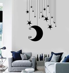 Wall Vinyl Decal Nusery Room Moon Stars Baby Kids Mural Unique Gift 11 in X in / Dark Blue Simple Wall Paintings, Creative Wall Painting, Wall Painting Decor, Bedroom Wall Designs, Bedroom Decor, Bedroom Ideas, Murals For Kids, Diy Wand, Decoration Table