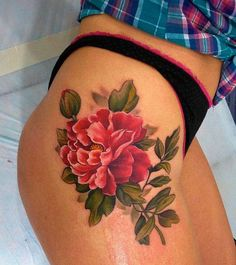 Floral Thigh Tattoo  https://thetattoopill.com                                    love the placement
