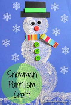 Pointillism Snowman Craft - Kids create snowmen with white paint and Q-Tips. How easy! - Meaningful Mama