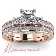 Princess Cut & Round Diamonds 14K Rose Gold Wedding Ring Set in Channel & Pave Setting || Princess Series Set