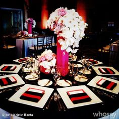 Bold red and black tablescape