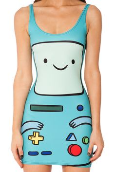 New Tank Dress 2016 Women Adventure Time Black Milk BMO Digital Print  Cartoon Robot Bodycon Wrap Dress One-Piece Vestiti Donna 0b7392d2775