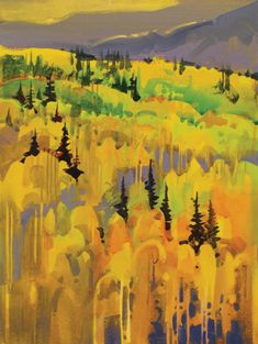 Stephen Quiller acrylic landscape painting
