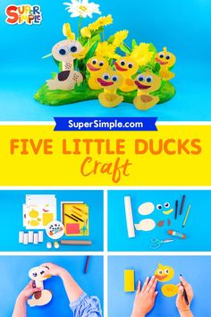 Make five little ducks and mother duck so you can have fun acting out the song! Get the free printable template to make this craft super duper easy. Orange Craft, Yellow Crafts, Craft Activities For Kids, Preschool Crafts, Crafts For Kids, Five Little, Little Duck, Duck Crafts, Toddler Snacks