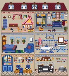 Paper Doll House, Doll House Crafts, Paper Houses, Paper Dolls, Cross Stitching, Cross Stitch Embroidery, Cross Stitch Patterns, Embroidery Patterns, House Illustration