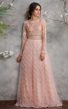 Pakistani Wedding Dresses by Threads & Motifs Features this Elegant Net Embroidered Blouse with Lehenga Skirt Pakistani Lehenga, Bridal Lehenga Choli, Lehenga Skirt, Anarkali, Lehnga Blouse, Jacket Lehenga, Pakistani Couture, Sabyasachi, Shadi Dresses