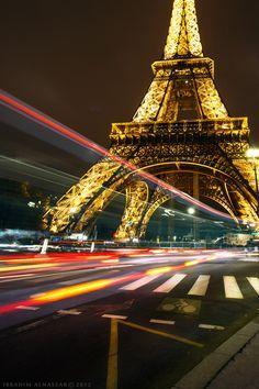 Eiffel tower by night, Paris, France