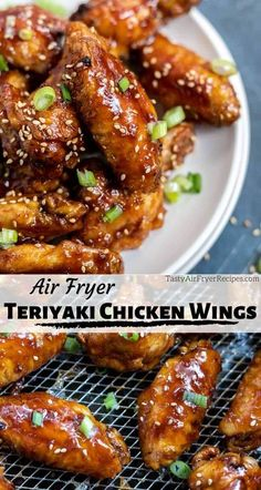 For an outstanding snack, dinner or appetizer make this Air Fryer Teriyaki Chicken Wings Recipe. Perfectly cooked wings slathered in a sticky teriyaki sauce then air fried for a quick and easy meal. #chickenwingsrecipes #teriyakiwings #teriyakichickenwings #airfryerrecipes #airfryer #airfriedfood #airfryerchickenwings #teriyakirecipes Teriyaki Chicken Wings, Salsa Teriyaki, Chicken Wing Sauces, Air Fryer Chicken Wings, Chicken Wing Recipes, Teriyaki Sauce, Air Fryer Wings, Pollo Teriyaki, Sauce For Chicken Wings