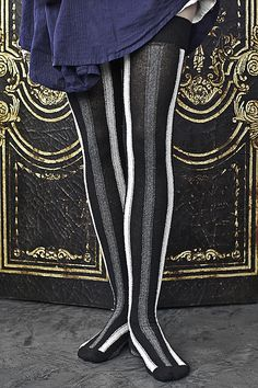 Extraordinary Vertical Striped Cotton Over-the-Knee Socks