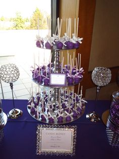 Purple Cake Pops on Silver Cupcake stand by OC Sugar Mama Candy Buffet Tables, Candy Table, Dessert Tables, Candy Bar Wedding, Wedding Favors, Wedding Decor, Wedding Ideas, Silver Cupcakes, Wedding Cupcakes