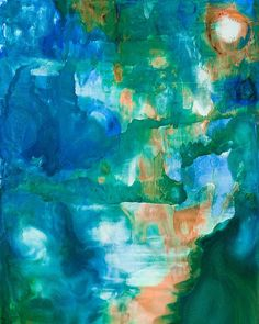 Moonlit Landscape Painting by Priya Ghose - Moonlit Landscape Fine Art Prints and Posters for Sale - The full moon shines brightly, illuminating a soft otherworldly landscape in blues and greens. #art #alcoholinks #abstract