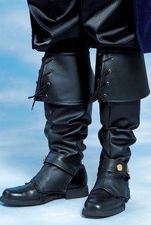 Deluxe Black Vinyl Men's Boot Covers - Pirate Costumes - Candy Apple Costumes