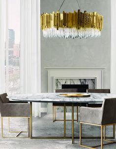 Amazingly simple interior design with breathtaking suspension chandelier | www.bocadolobo.com #bocadolobo #luxuryfurniture #exclusivedesign #interiodesign #designideas #chair