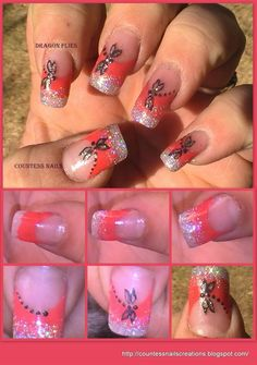 Dragon Fly Red French Nail Art Tutorial Entry - Simple Nail Art Tips Gel Nails French, French Nail Art, Nail Art Hacks, Easy Nail Art, Love Nails, Fun Nails, Pretty Nails, Dragon Nails, Butterfly Nail