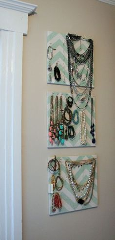 37 Jewelry Storage Ideas: #jewelry #jewelrystorage.    Foam covered in fabric with pins in it to hang necklaces and bracelts