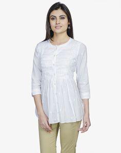 Fabindia.com   Cotton Pintuck Sequin Chikankari Short Kurta