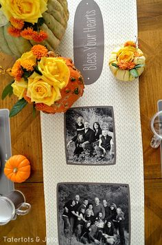 Thanksgiving tablescape and free Thanksgiving Printables at tatertots and jello. This great idea of a photo runner is wonderful. Easy DIY Thanksgiving project that everyone will love.