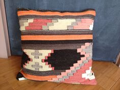Vintage tribal Kilim pillow from handwoven Turkish rug Persian southwestern afghan Moroccan on Etsy, $40.00