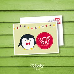 Printable Penguin I Love you PostCard. 2 sided, by Owlyprint