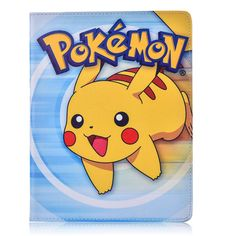 Case for Apple ipad 6 / ipad Air 2 Pokemon Go cute Pikachu tablet PU leather Cover Flip stand shell coque para