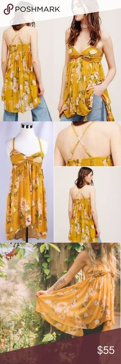 NWT Free People Mirage Tube Top in Sunshine Yellow New with tags - mint condition. In a lightweight and sheer fabric, this floral printed tube top has removable and adjustable straps and is featured in a flowy silhouette. With a high low hem, ruched detailing on the bust, and elastic band in back. Size small. Free People Tops Camisoles
