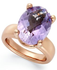 Bronzarte 18k Rose Gold over Bronze Ring, Amethyst Oval Ring (8 ct. t.w.)