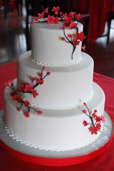 chocolate cherry blossom wedding cake - Google Search
