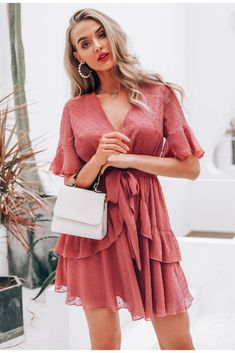 Short Dress Women Summer VNeck Polka Dot Layer Ruffle Chiffon Mini Dress Casual Holiday Beach Dress Sundress Color Pink Size S Summer Formal Dresses, Summer Dresses For Women, Modest Dresses, Simple Dresses, Sexy Dresses, Cute Dresses, Beautiful Dresses, Short Dresses, Dress Formal