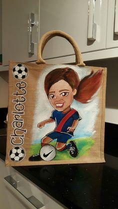 Soccer girl personalised jute bag by Drews Jutes hand painted