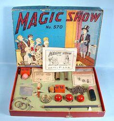 1940s Pressman Magic Show Set No. 570 in Original Box Packed with Tricks Vintage