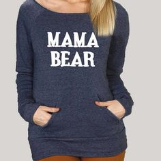 "Women's off-shoulder ""Mama Bear"" sweater. // For all Baylor mamas. #SicEm"