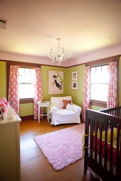 Pink & green nursery curtains are amazing