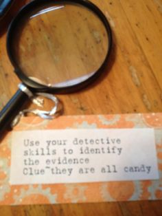 Detective candy game for spy birthday party