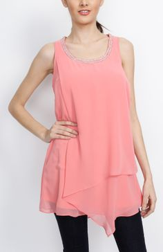 coral embellished sleeveless tunic wholesaletops blouse sleeveless coral tops chic