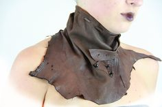 Mad Max brown or black belted lambskin leather scarf neck collar. $135.00, via Etsy.