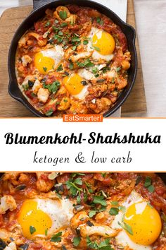 Blumenkohl-Shakshuka – Abendessen: schnell, gesund und lecker / Fast Healthy Weeknight Meals – 10 When Clean Eating Vegetarian, Clean Eating Recipes For Dinner, Clean Eating Meal Plan, Clean Eating Breakfast, Healthy Breakfast Recipes, Easy Healthy Recipes, Clean Eating Snacks, Vegetarian Recipes, Healthy Eating