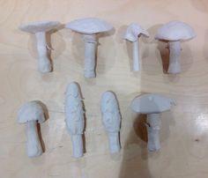 Ceramic mushrooms (before glaze), unit 1, organic forms, Eve, CNC