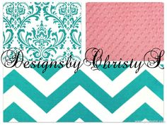 Coral Turquoise Chevron and White Turquoise by DesignsbyChristyS, $145.00