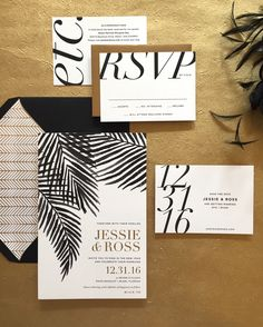 New Year's Eve wedding invitation suite from Bonomo Paper Co. Black, white, and gold foil design makes for a chic and modern design perfect for this Miami wedding.