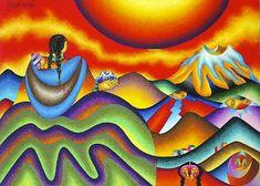 Color, Earth, Andes: The Work of Bolivian Artist Roberto Mamani Mamani South American Art, Native American, Copacabana Bolivia, Arte Latina, Hispanic Art, Mexico Art, Southwest Art, Arte Popular, Naive Art