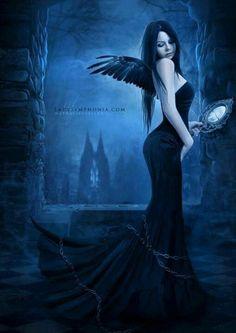 Digital Painting of Females by Lady Symphonia Fantasy World, Dark Fantasy, Fantasy Art, Anime Fantasy, Dark Beauty, Gothic Beauty, Cgi, Dragons, Gothic Angel